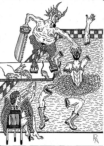 """""""Vaclav com membros decapitados"""". Ilustração de Roberto Alencar. Veja mais no site: http://robertoadesenhos.wixsite.com/robertoalencar"""